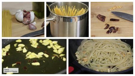 Espaguetis Al Ajillo Pasos