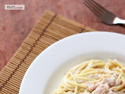Espagueti con atún en salsa de mostaza y queso. Receta