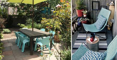 Decorar con turquesa en la terraza