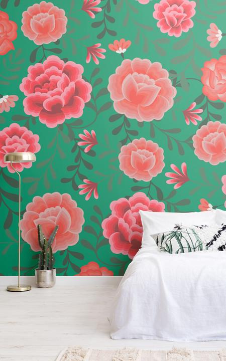 Frida Kahlo Green Floral Pattern Lifestyle Web
