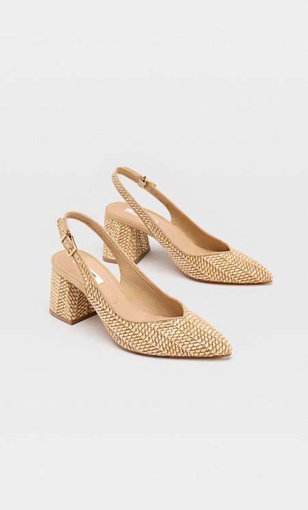 Zapatos tacón destalonados rafia