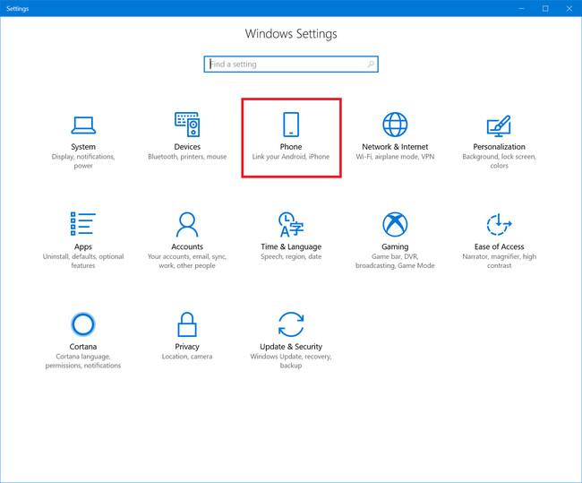 Ajustes Phone Windows 10