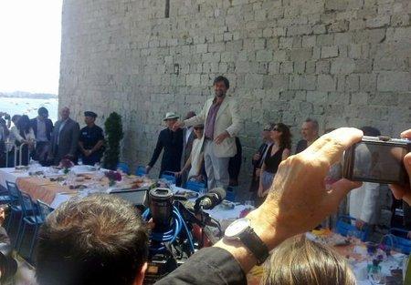 Moretti y el jurado en el almuerzo para periodistas