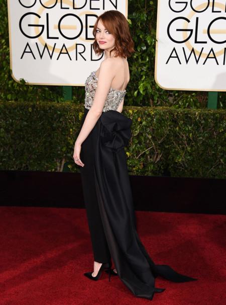 Emma Stone espalda Golden Globes 2015