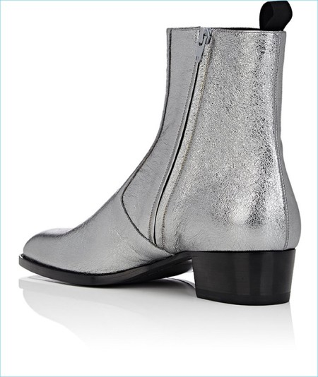 Saint Laurent Wyatt Metallic Silver Leather Side Zip Boots