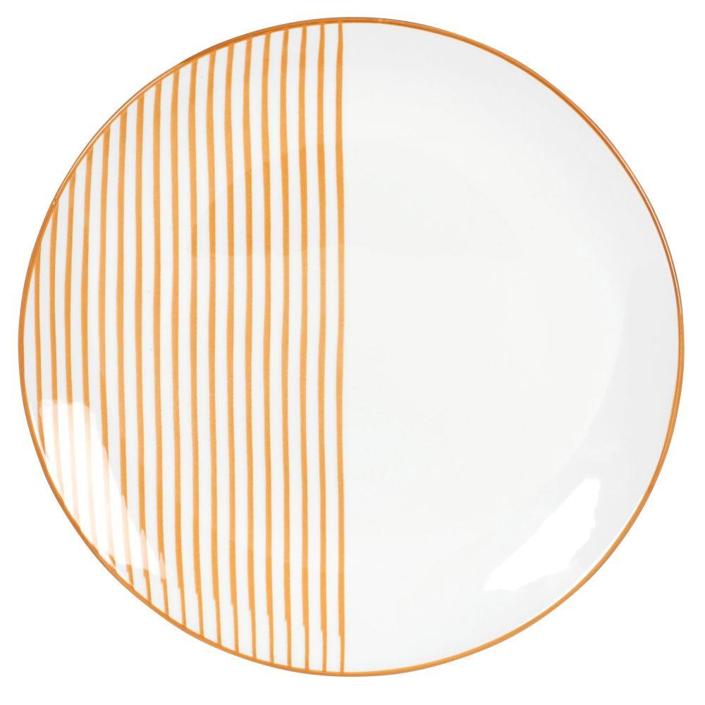 Set de seis platos planos de loza color amarillo mostaza con motivo de rayas