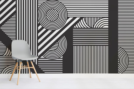 Oriz Geometric Black And White Mural Chair