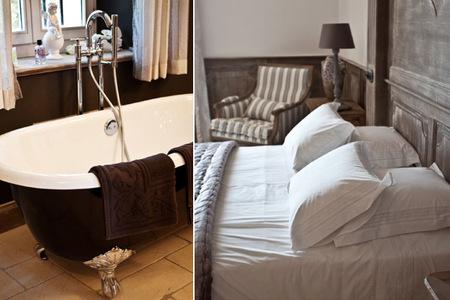 Dormitorio y baño en hotel rural