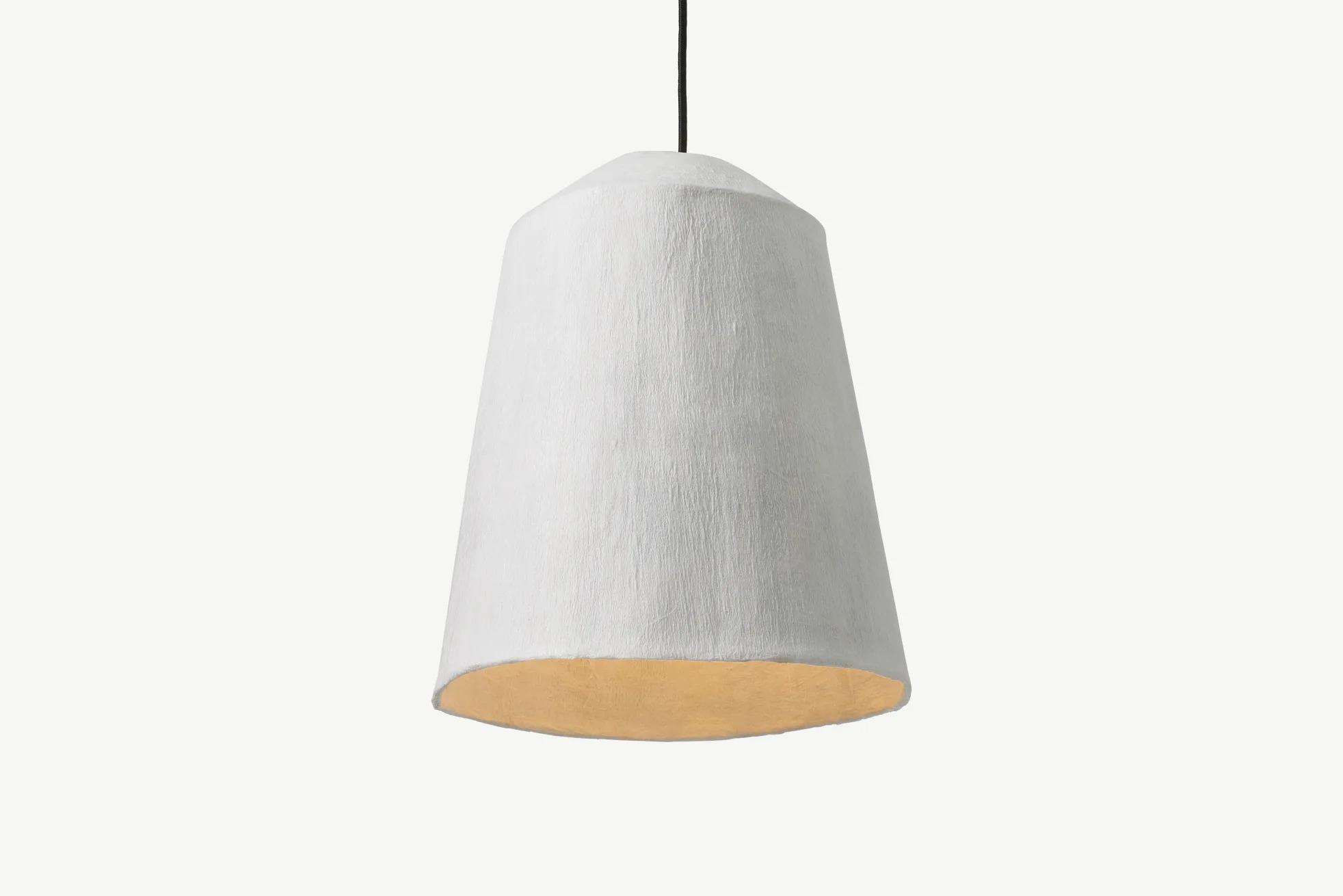 Dahlia Pantalla de lámpara alta Dahlia, papel maché blanco