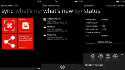 BitTorrent Sync lleva su servicio de almacenamiento P2P a Windows Phone