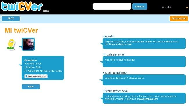 Crea un curriculum al estilo Twitter con TwiCVer