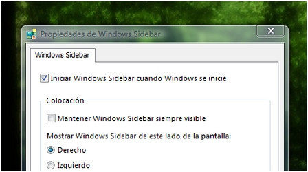 Windows Vista: desactivar Windows Sidebar
