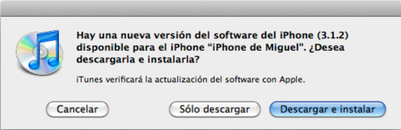 Actualización de software: iPhone OS 3.1.2