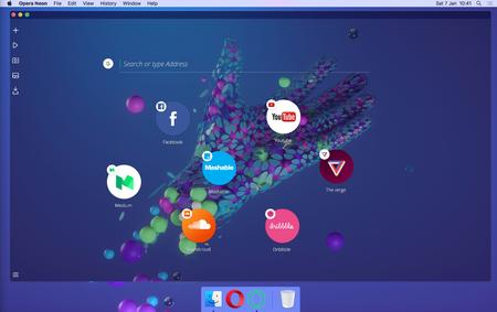 Neon es el nuevo navegador experimental de Opera y luce como un mini sistema operativo