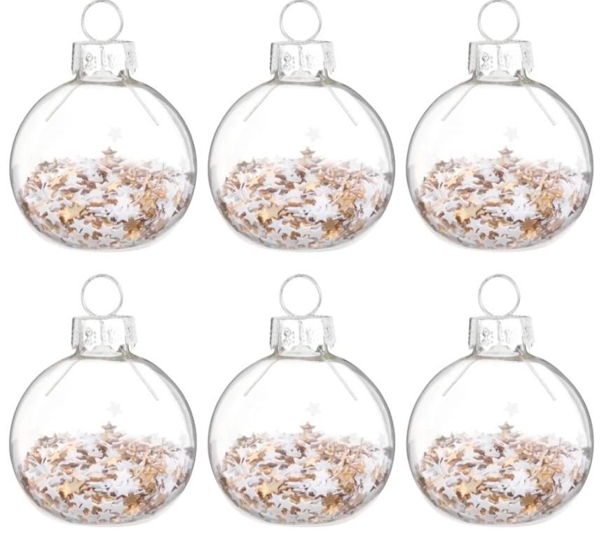 Bolas de Navidad de cristal y confeti de estrellas - Lote de 6 piezas -