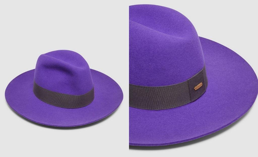 Sombrero de mujer Fernandez & Roche de fieltro en tono morado