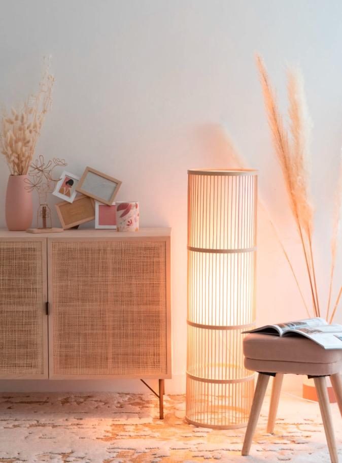 Lámpara de pie de bambú Alt. 100