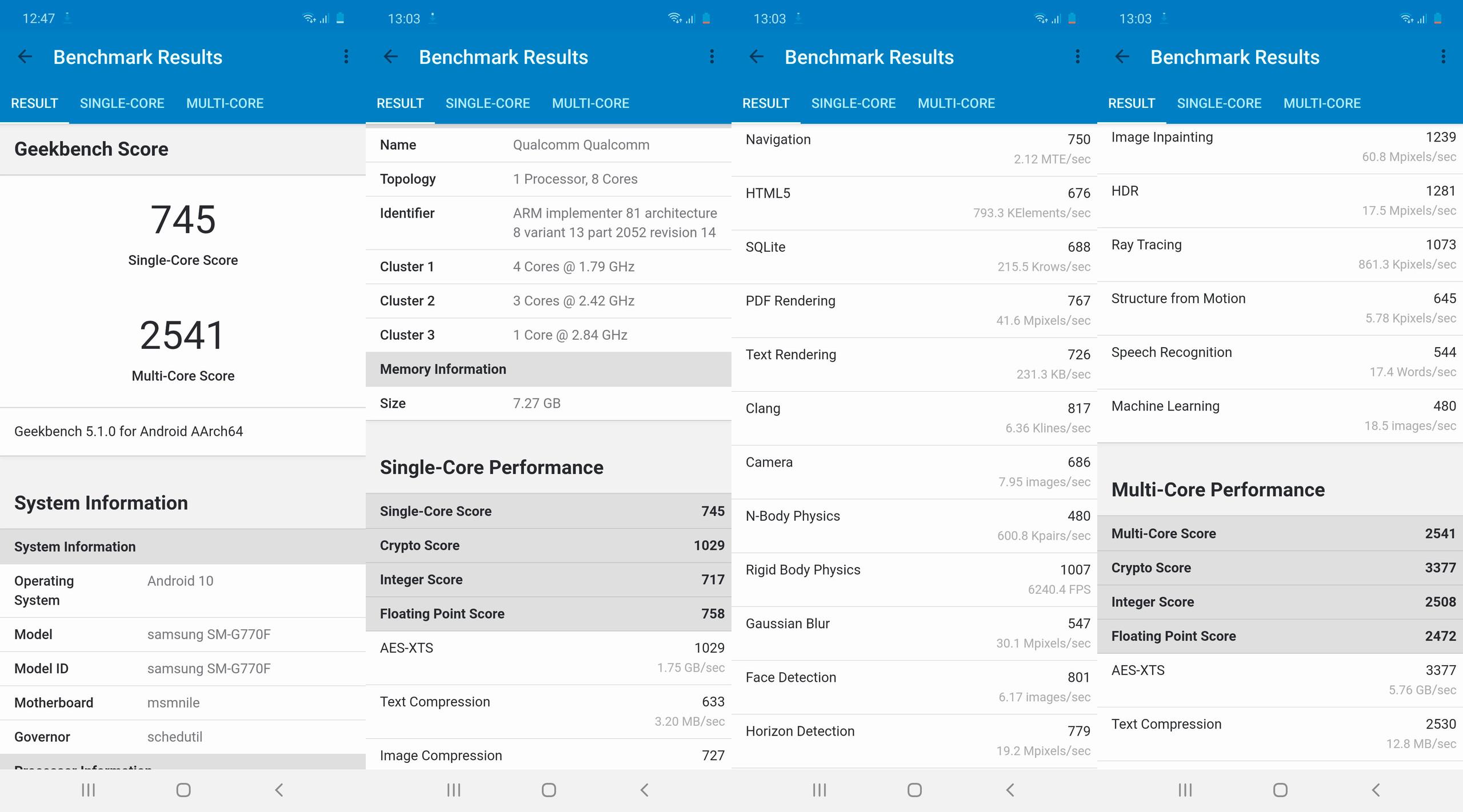 Samsung Galaxy S10 Lite, benchmarks