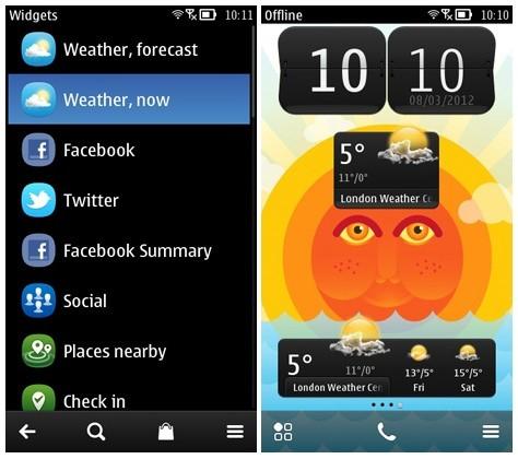 Nokia weather widget informaci n meteorol gica al for Widget clima samsung