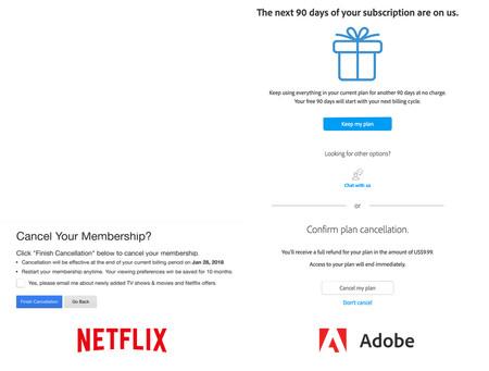 Distintos pantallas de cancelación del servicio, a un lado Netflix y al otro lado Adobe. En la de Netflix, el botón resaltado y que hace de call-to-action es el de cancelación, justo lo que se busca en este proceso. En el caso de Adobe, ese resaltado lo tiene el botón para permanecer en el servicio.