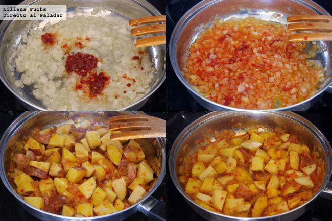 Guarnición de patatas picantes con harissa. Pasos