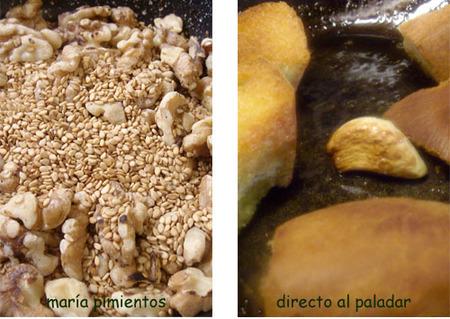 Tostamos semillas freimos pan y ajo