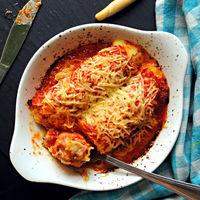 Canelones de jamón y patata, receta exprés