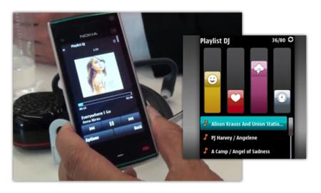 Playlist DJ, demostración en un Nokia X6