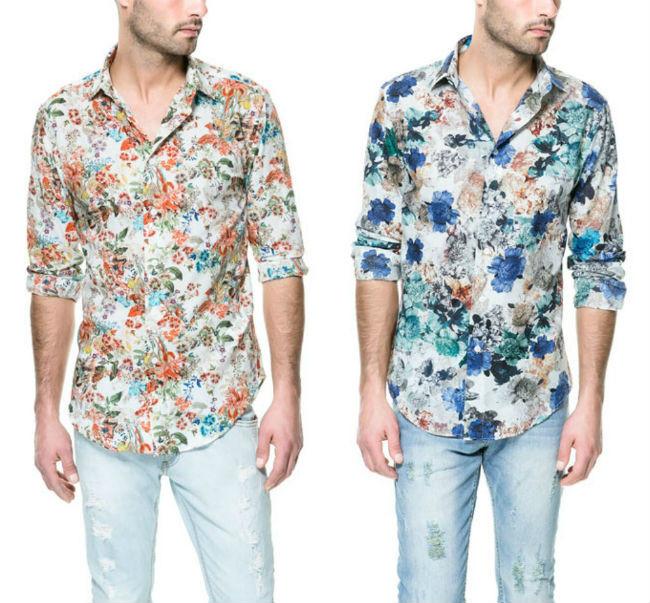 Camisa negra de flores azules para hombre exclusiva de