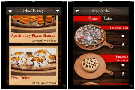 pizzas dulces y otras secciones