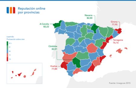 Infografía: ranking de reputación online de las provincias españolas según sus hoteles