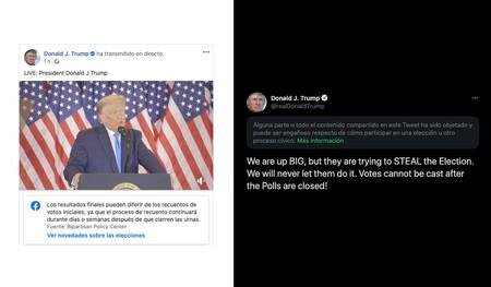 Trump se autoproclama presidente con los votos sin contar, Twitter y Facebook reaccionan para contradecirle