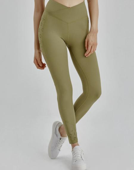 Legging deportivo de cintura alta reforzada y perforaciones láser cut-out
