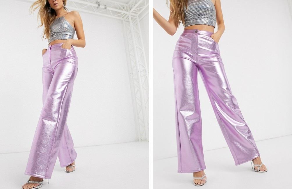 Pantalones de pernera ancha de poliuretano metalizado de Asos