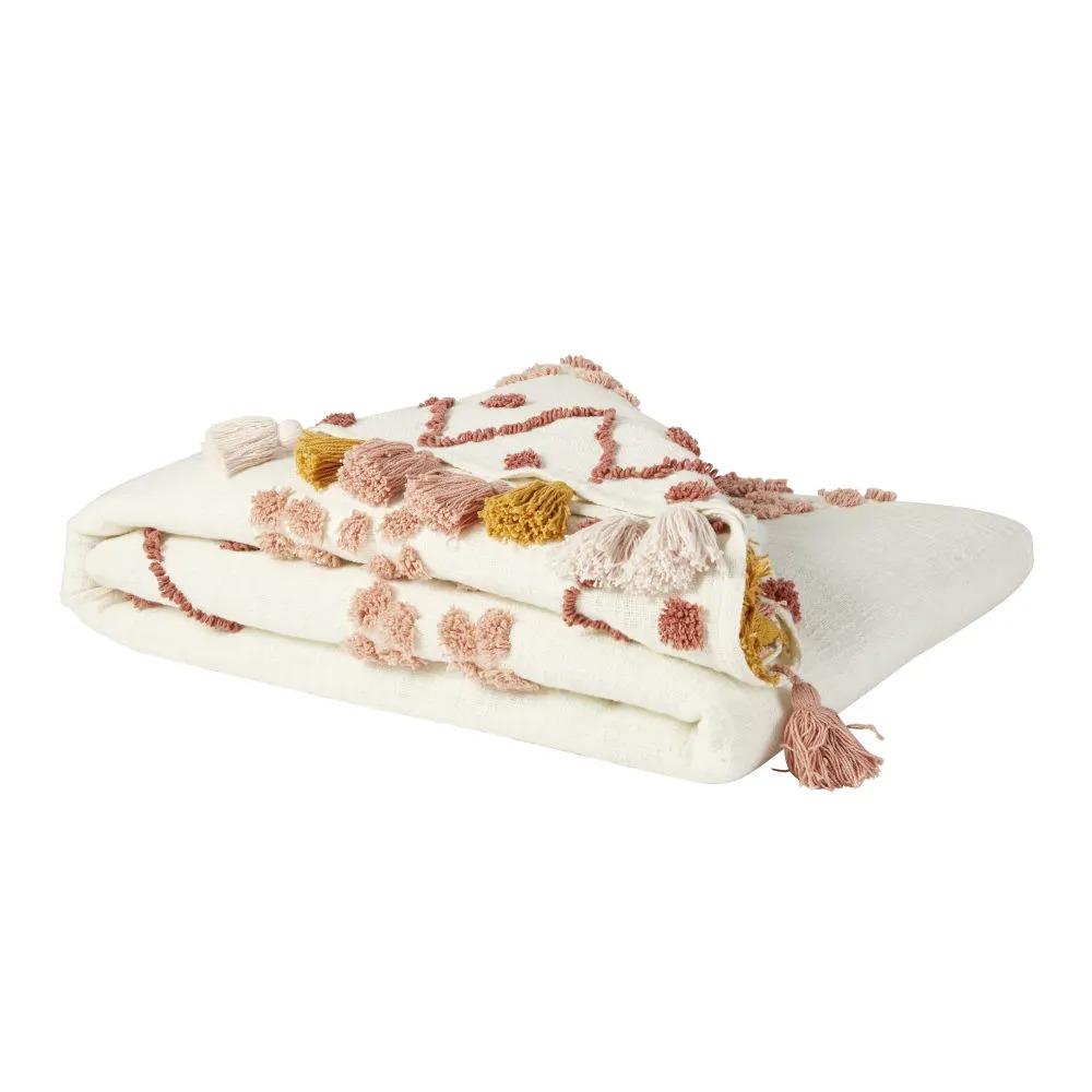 ISSIA.- Manta de algodón color crudo bordada con pompones 130x170 cms