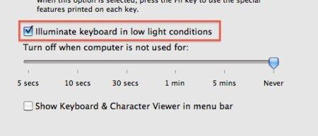 Mac OS X backlight