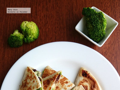 Quesadillas de brócoli y frijol. Receta