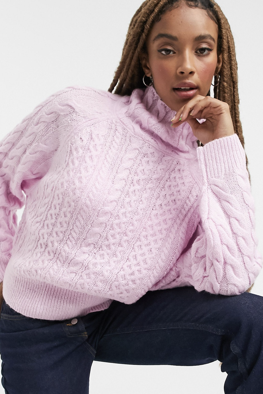Jersey de punto con cuello alto en rosa de Reclaimed Vintage inspired
