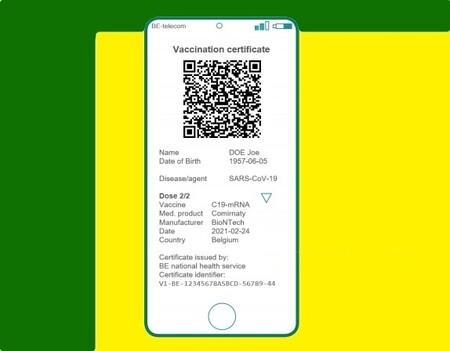 Pasaporte COVID de la UE en el móvil