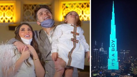 Una pareja de influencers ilumina el rascacielos más alto del mundo para revelar el sexo de su bebé