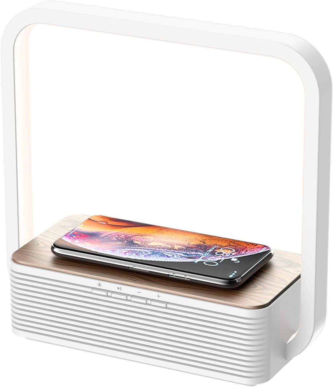 WILIT A15B Lámpara de Mesilla, Cargador Inalámbrico y Altavoz Bluetooth, Lámpara de Mesa de Madera Regulable 60 LED, Qi Cargador Inducción para Samsung Galaxy S10/S9/Note 10, iPhone 11/XS/XR/8, Blanco [Clase de eficiencia energética A++]
