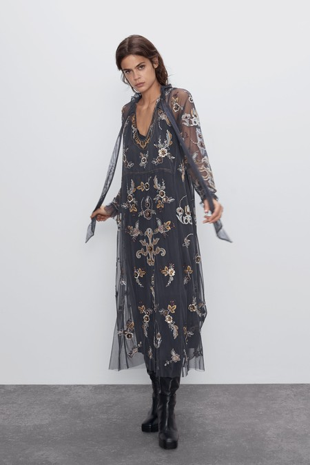 Vestido Tul Bordado Zara 02