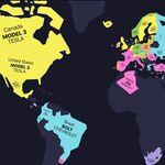 Este mapa muestra los autos eléctricos más vendidos en cada país, y el Tesla Model 3 lleva la delantera