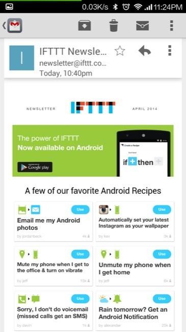 Notificación de IFTTT como aplicación Nativa en Android
