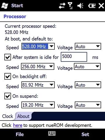 nueDynamicClock, ajusta la velocidad del procesador