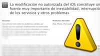Apple advierte a los usuarios de los posibles riesgos del Jailbreak