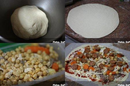 Pizza de cocido. Pasos