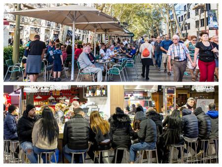 Dos Imagenes De La Vieja Normalidad En Barcelona Con Las Ramblas Y El Mercado De La Boqueria