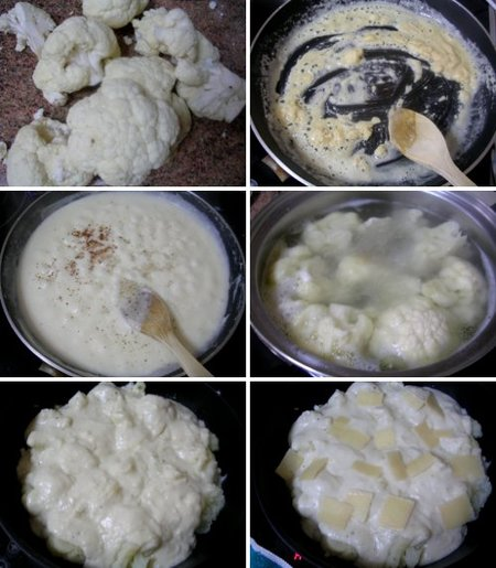 Elaboración receta de coliflor gratinada