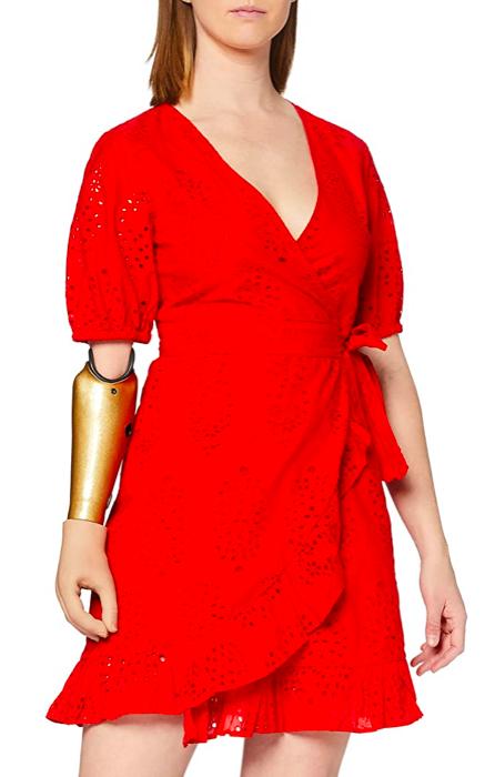 Vestido Rojo Cruzado Amazon